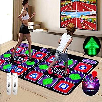 ASDF Double Dance Mat, Durable Musical Play Mat, Somatosensory Dance Mat Multifunctional HD Thickened Non-Slip Dance Pad, TV Interface LED 3D Running Blanket Yoga Game Machine by ASDF