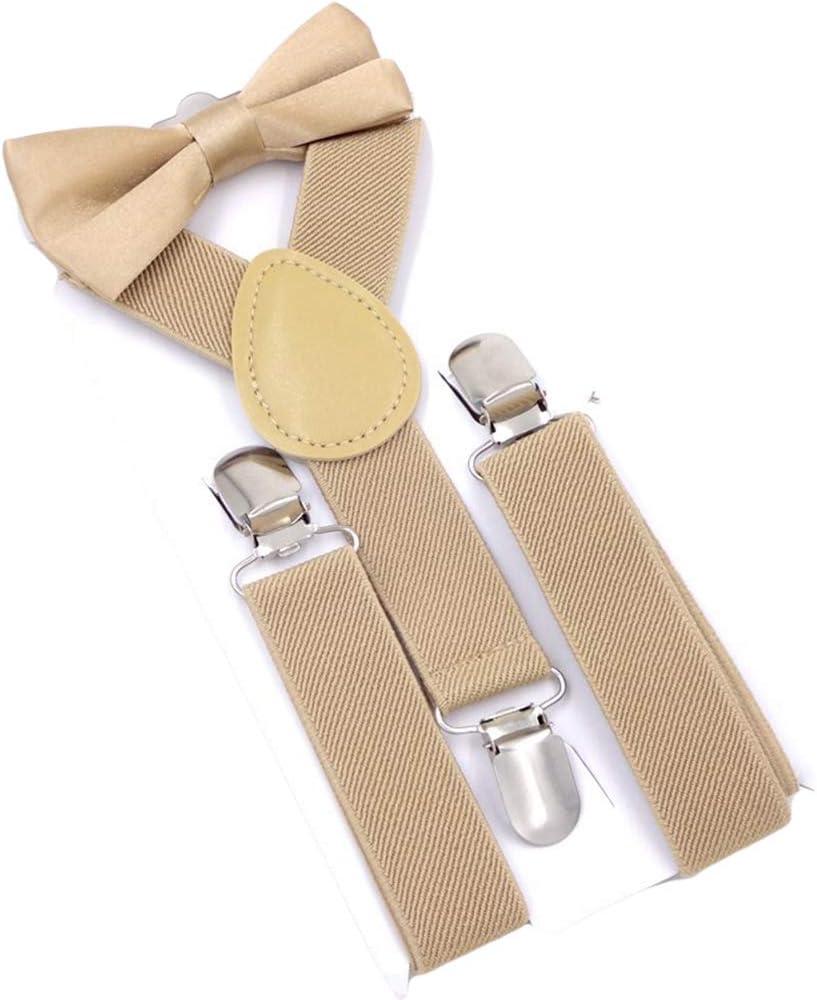 MENDENG Child Kids Red Suspenders Bow Tie Set Adjustable Braces for Boys Girls
