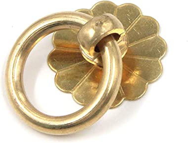 Geesatis 6 Pcs Brass Ring Pulls Handles Antique Pulls Cabinet Knobs Drawer pulls Closet Cupboard Door Decorative Handles