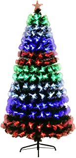 Goplus Pre-Lit Fiber Optic Christmas Tree Artificial Fireworks Spruce Tree w/Multicolor LED Lights, Top Star & Solid Metal Stand (7 Ft)