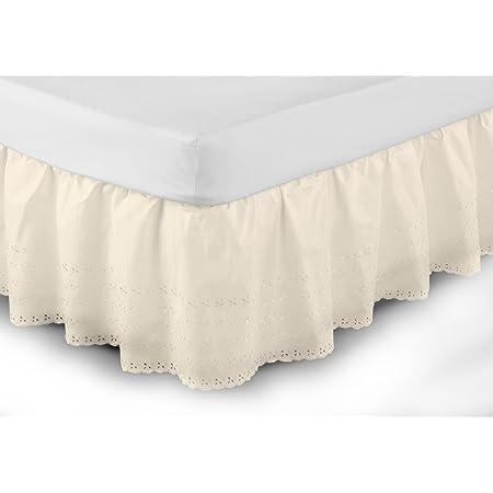 Belledorm - Cubre canapé de fácil Ajuste y diseño Bordado Anglaise (Doble) (Crema)