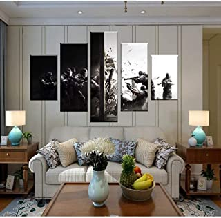 Jl Wall Art 5 Panels Painting on Canvas Tom Clancy's Rainbow Six Siege Ready to Hang for Home Decorations Wall Decor,B,20x352+20x452+20x551