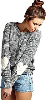 Women's Crewneck Long Sleeve Thin Knitted Patchwork Cute Heart Sweater