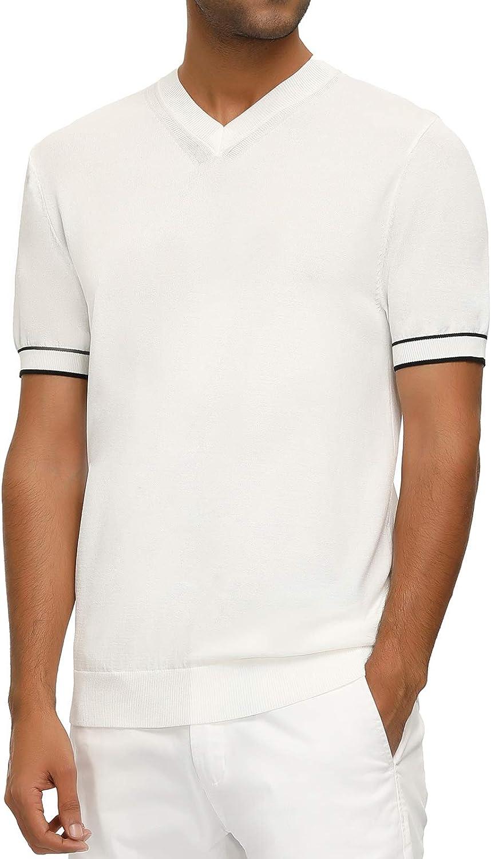 Men's Vintage Clothing | Retro Clothing for Men PJ PAUL JONES Mens Casual V-Neck Pullover Sweater Lightweight Short Sleeve Summer Knitting Shirt  AT vintagedancer.com