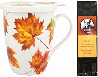 Maple Leaf Forever Tea Mug, Infuser with Lid in Matching Gift Box Bundle with 1 Gift Package of 6 Tea Bags