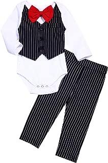 Baby Boy Gentleman Outfit Newborn Wedding Clothes Bowtie Tuxedo Formal Suit