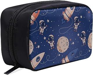 CWSGH メイクポーチ 宇宙飛行士や月 ボックス コスメ収納 化粧品収納ケース 大容量 収納 化粧品入れ 化粧バッグ 旅行用 メイクブラシバッグ 化粧箱 持ち運び便利 プロ用