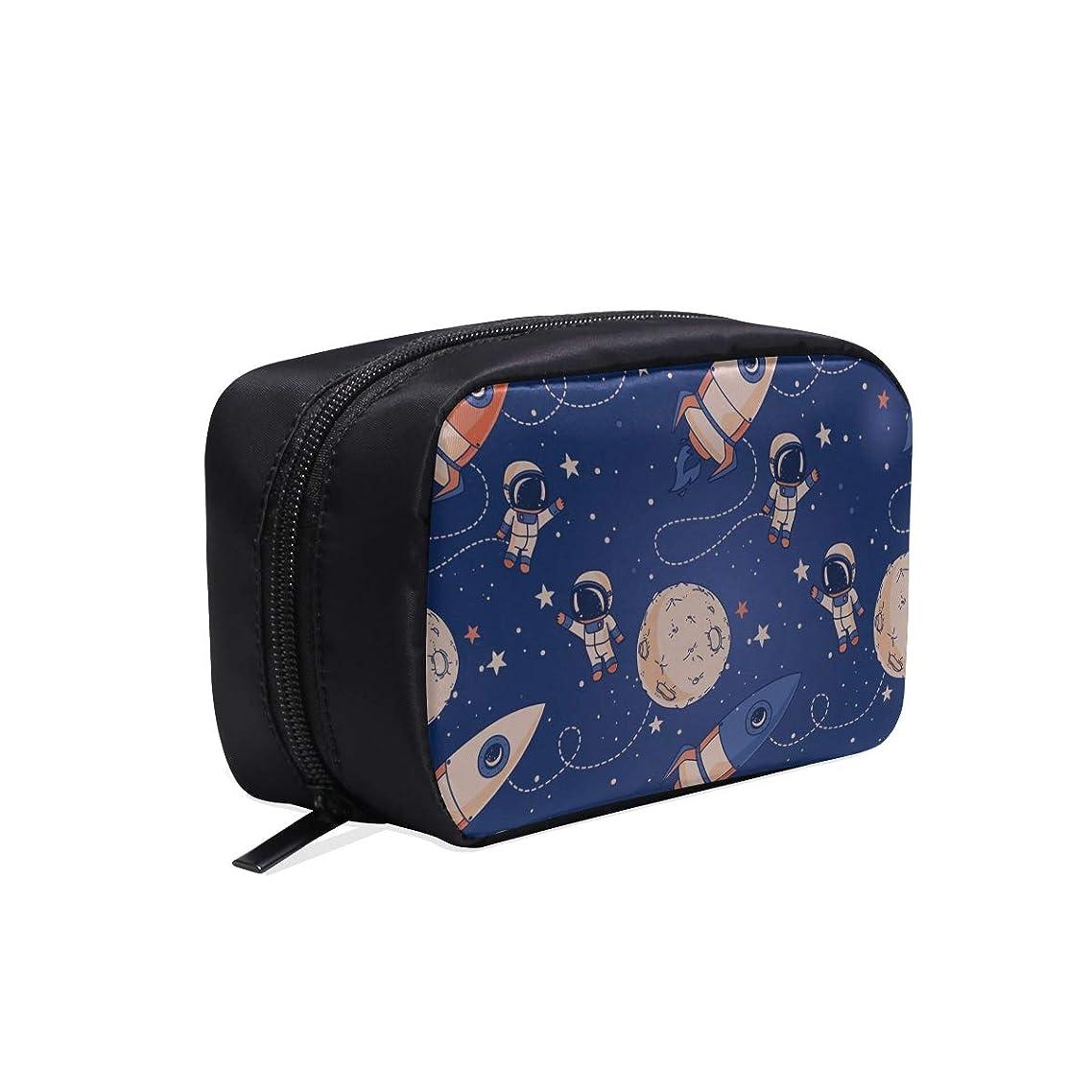 賢い鏡悪いCWSGH メイクポーチ 宇宙飛行士や月 ボックス コスメ収納 化粧品収納ケース 大容量 収納 化粧品入れ 化粧バッグ 旅行用 メイクブラシバッグ 化粧箱 持ち運び便利 プロ用