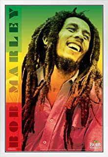 Pyramid America Bob Marley Laughing Portrait Reggae Color White Wood Framed Poster 14x20