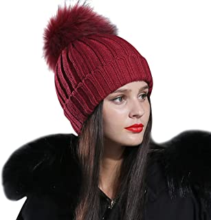 CACUSS Women's Winter Soft Fur Pom Pom Beanie Hat Warm Cable Knitted Thick Ski Caps Skull Cap