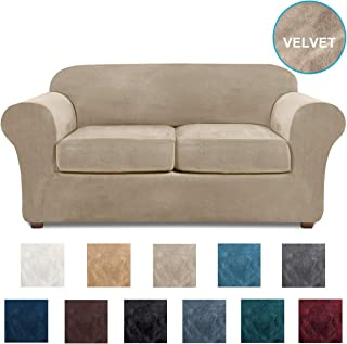 NORTHERN BROTHERS Loveseat Covers for 2 Cushion Couch Velvet 3 Piece Loveseat Slipcover (Taupe)
