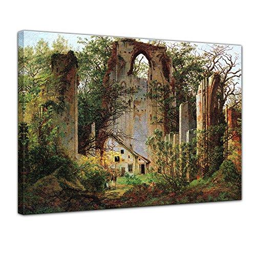 Wandbild Caspar David Friedrich Klosterruine Eldena - 60x50cm quer - Alte Meister Berühmte Gemälde Leinwandbild Kunstdruck Bild auf Leinwand