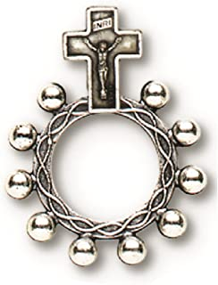 Sherman Sterling Silver Cross Necklace with Painted Rose Detail on 18 Chain J H