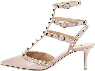 Women's Rivets Buckle Studded T-Strap Pointed-Toe Kitten Heels Fashion Sandals