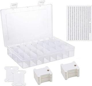 Boîte de rangement pour fil à broder 24 emplacements avec 50 bobines en plastique blanc et 552 autocollants numérotés