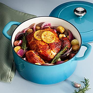 Tramontina 80131/036DS Enameled Cast Iron Covered Round Dutch Oven, 5.5-Quart, Medium Blue