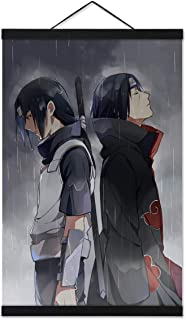 Jackethings Naruto Poster Wall Scroll Uchiha Itachi Painting Picture 40x60cm with 16 Inch Magnet Wood Poster Hanger