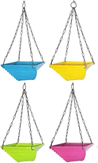 MB TRADERS Hanging Garden pots, Twister Flower pots with Heavy Metal Chain, Set of 4 Multicolor(Blue, Yellow, Green, Pink)...
