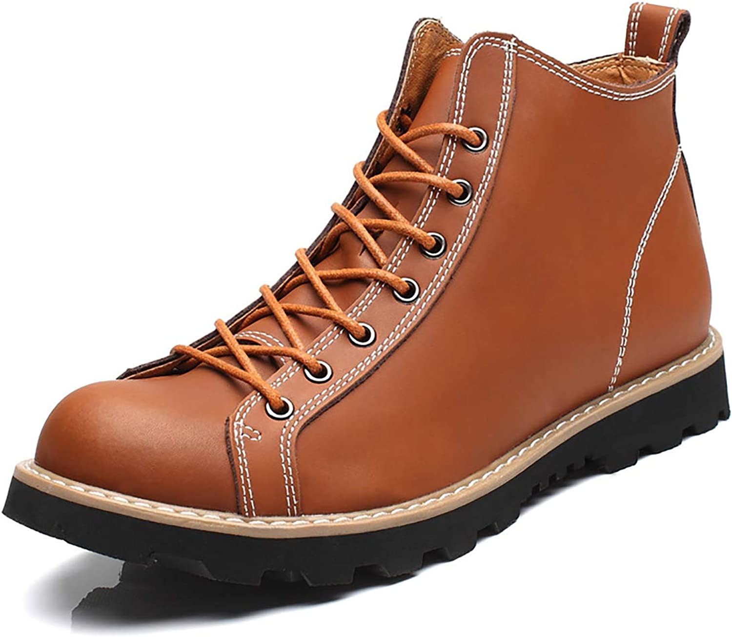 Men's Outdoor Lace UP Round Head Bare Leather Combat Martin Boots Rubber Sole Retro Casual Artificial Leather Boots,Brown,42