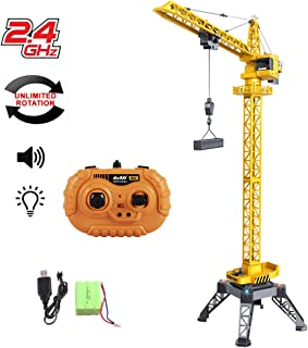 deAO RC Construction Tower Crane 12 Channel Radiocontrol Model Die Cast Truck Limitless Rotation, Lights and Sounds 122cm Tall