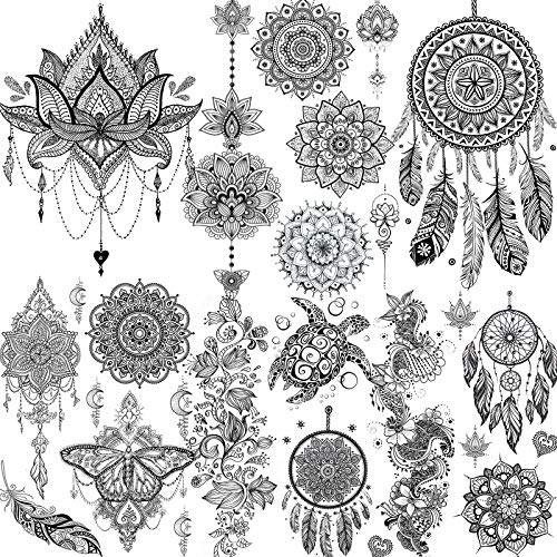 6 Sheets FANRUI Black Henna Temporary Tattoos For Women Lace Mehndi Mandala Flower Tatoos Ink Large Waterproof Lotus Fake Jewelry Pendant Butterfly Tattoo Stickers Kit Wedding Dreamcatcher Feather