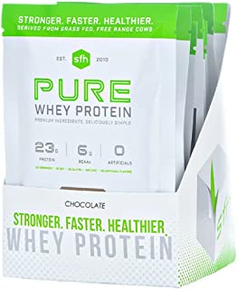 Pure Whey Protein Powder by SFH | Best Tasting 100% Grass Fed Whey | All Natural 100% Non-GMO, No Artificials, Soy Free, Gluten Free (10 Travel Packets, Chocolate)