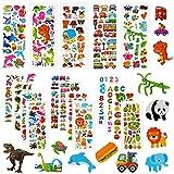 Aufkleber für kinder & Kleinkinder, 3D Kinderaufkleber, 500+ DIY Stickers Set, 22 Verschiedene Blätter für Mädchen Jungen und Lehrer, inkl. Dinosaurier, Tier, Obst, Zahlen, Buchstaben,...