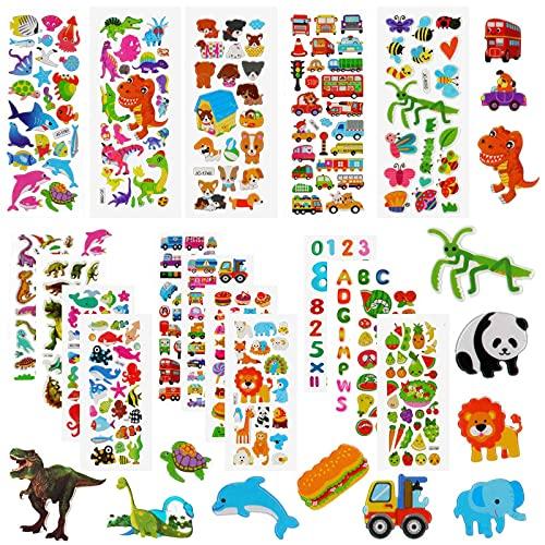Aufkleber für kinder & Kleinkinder, 3D Kinderaufkleber, 500+ DIY Stickers Set, 22 Verschiedene Blätter für Mädchen Jungen und Lehrer, inkl. Dinosaurier, Tier, Obst, Zahlen, Buchstaben, Autos Usw