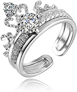 925 Sterling Silver Wedding Rings Set 2 Pcs Stackable Crown Cubic Zirconia Band Engagement Bridal Eternity Promise Adjustable Rings for Women