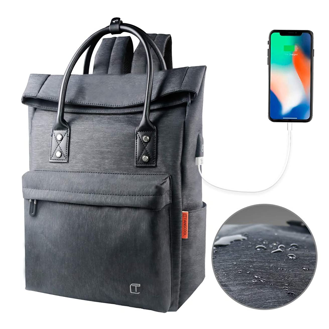 Waterproof Laptop Backpack for Women Men Antitheft Convertible Backpack Tote with USB Slim Computer College Bookbags Business Bag -15.6 inch Laptop Bag - Grey