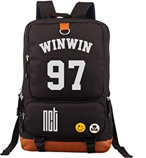 Fanstown Kpop NCT Backpack Canvas Bag NCT U NCT 127 NCT Dream Backpack with Pencil case Set Black Bag
