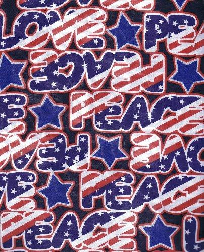 Fat Quarter USA Stars & Stripes und Love & Peace Baumwolle Quilten Stoff gedruckt