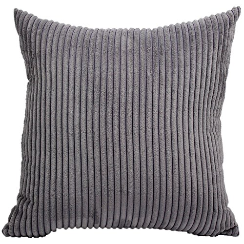 FEILEAH Striped Corduroy Soft Decorative Square Throw Pillow Cover Cushion Covers Pillowcase Home Decor for Sofa Chair Couch/Bedroom Decorative Pillowcases 1 Piece Grey 28x28inch/70X70CM