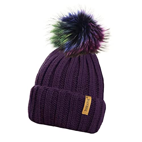 73ee836d76a TOSKATOK® Ladies Chunky Soft Ribbed Beanie Hat with Detachable Extra Large  Multicoloured Faux Fur Pompom