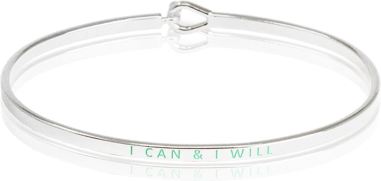 SM Inspirational Positive Quote Message Engraved Multi Color Thin Cuff Bangle Bracelets for Women