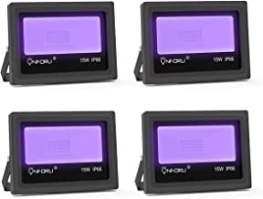 Onforu 4 Pack 15W UV LED Black Lights, Ultraviolet Outdoor Flood Light, IP66 Waterproof with Plug for Dance Party, Stage Lighting, Glow in the Dark, Aquarium, Body Paint, Fluorescent Poster, Neon Glow