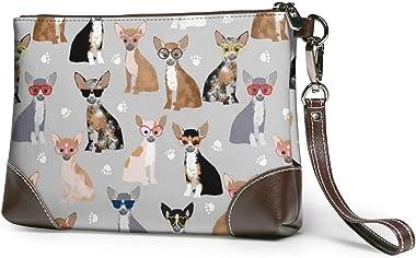 Ahdyr pochette en cuir pour femme Sacs à main Embrayage Portefeuilles pour téléphone Chihuahua Chien en cuir Petit sac à main