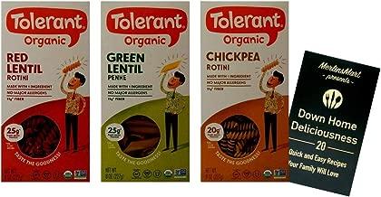 Tolerant Organic Gluten-Free Pasta 3 Shape Variety Plus Recipe Booklet Bundle, 1 each: Red Lentil Rotini, Green Lentil Penne, Chickpea Rotini (8 Ounces)