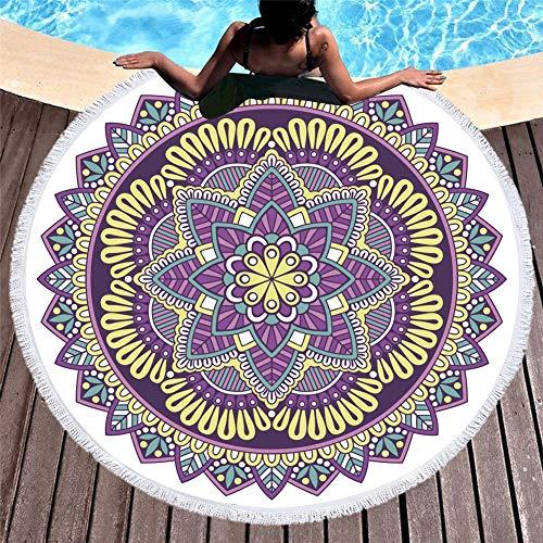 WHSS Impresión Digital con Flecos Laterales De Secado Rápido Toalla De Playa Absorbente Asiento De Baño De Mantón 150 * 150 Cm