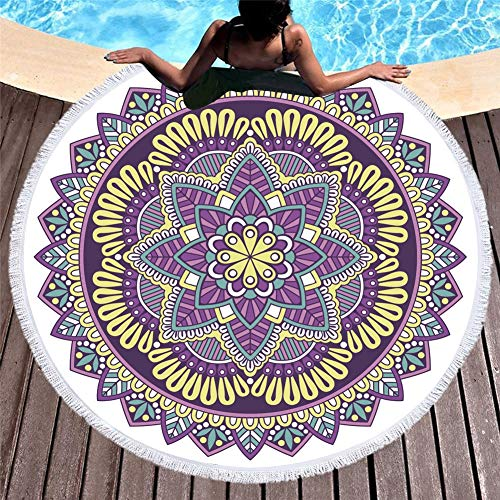 DKee Toallas de Playa Impresión Digital con Flecos Laterales De Secado Rápido Toalla De Playa Absorbente Asiento De Baño De Mantón 150 * 150 Cm