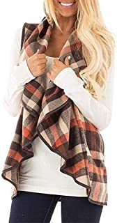 Chinateraca Women Sleeveless Vest Plaid Cardigan Turn Down Collar Pocket Autumn Coat