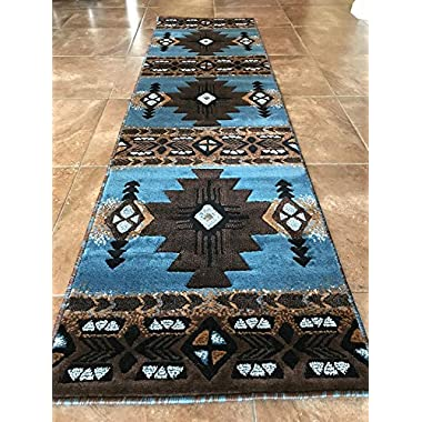 Concord Global Trading South West Native American Area Runner Rug Blue &Brown Design C318 (2 Feet X 7 Feet)