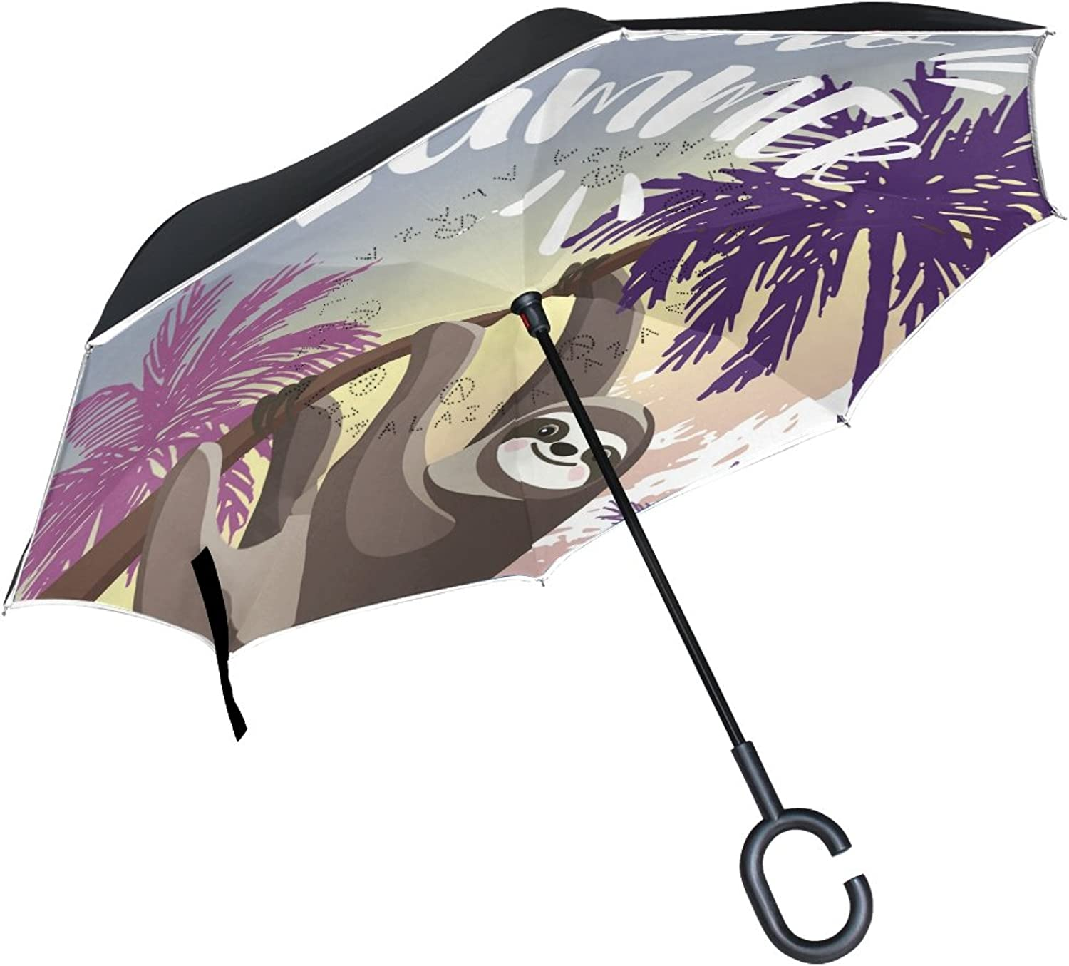FOLPPLY Ingreened Umbrella Hello Summer Cute Sloth,Double Layer Reverse Umbrella Waterproof for Car Rain Outdoor with CShaped Handle