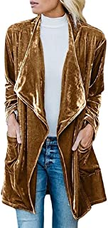 Howme-Women Velvet Outwear Long Cardigan Fall Winter Trench Coat