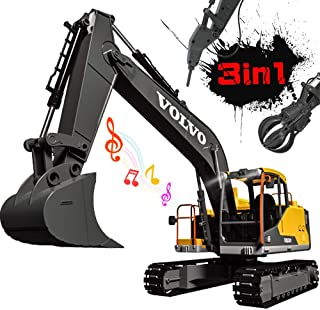 Volvo RC Excavator 3 in 1 Remote Control Truck Full Functional with 2 Bonus Tools Remote Control Excavator Construction Tractor