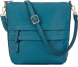 CoLYH Triple Zip Medium Crossbody Purse Bag Functional Multi Pocket