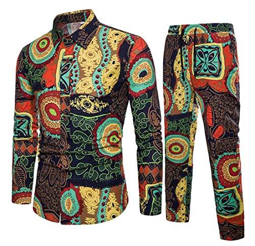 GRMO Herren Hemd & Hose, afrikanischer Druck, Dashiki, Baumwolle, Leinen, Übergröße, 2-teilig Gr. 2XS, gelb