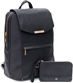P.MAI Premium Valletta Leather Laptop Backpack for Women with Wristlet I 15-Inch Executive Laptop and Notebook Computer Backpack I Ideal for Business, Travel, Work I Incl. Commuter Purse – Black