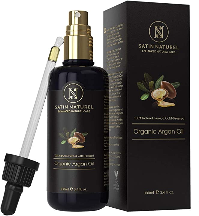 Olio di argan biologico vegano - spremuto a freddo - flacone in vetro viola 100ml satin naturel SN-003