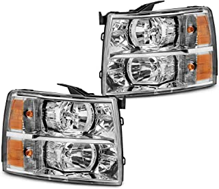 Epic Lighting OE Fitment Replacement Headlights Assemblies for 2007-2014 Chevrolet Silverado [GM2502280 GM2503280 25962804 25962805] Left Driver & Right Passenger Sides Pair